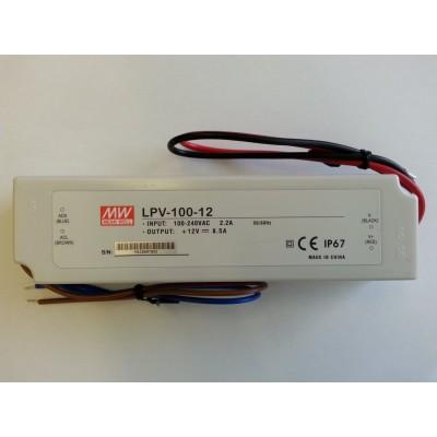 ALIMENTATORE 100 W 8,5 A 220V 12 V DC WATERPROOF IP67 MEANWELL LPV-100-12