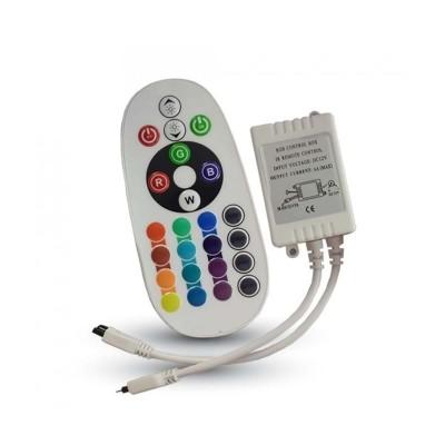CENTRALINA CONTROLLORE STRISCE LED RGB CONTROLLER CON TELECOMANDO 24 TASTI IR AD INFRAROSSI 12/24 DC