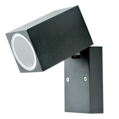 PORTA LAMPADA DA PARETE IP44 PER UNA LAMPADINA LED GU10 WALL LIGHT NERO