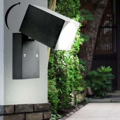 PORTA LAMPADA DA PARETE IP44 PER UNA LAMPADINA LED GU10 WALL LIGHT NERO