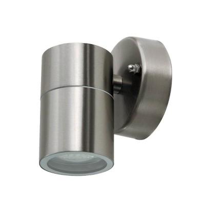 PORTA LAMPADA DA PARETE IP44 PER LAMPADINA LED GU10 WALL LIGHT ACCIAIO INOX