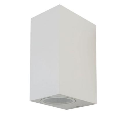 PORTA LAMPADA DA PARETE IP44 BIDIREZIONALE PER DUE LAMPADINE LED GU10 WALL LIGHT ALLUMINIO BIANCO