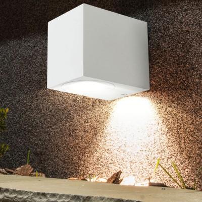 PORTA LAMPADA DA PARETE IP44 PER LAMPADINA LED GU10 WALL LIGHT ALLUMINIO BIANCO