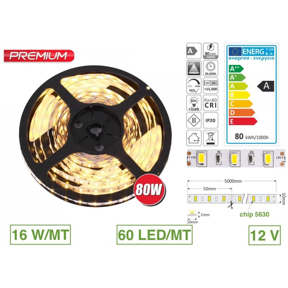 Strip Led Piu Luminosi 5 metri striscia 300 led 5630 luce a scelta ip20 12 v dc premium