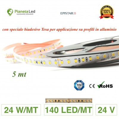 5 METRI STRISCIA 700 LED 2835 SMD 24 W/M 24 V DC PER INTERNO IP20 PREMIUM SERIES