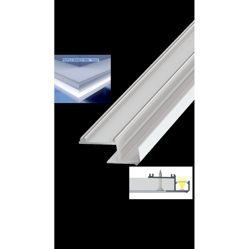 Strisce Led Per Cartongesso profilo alluminio bianco 2 mt mod. sole per strisce led copertura a scelta