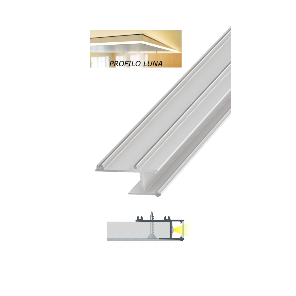 Strisce Led Per Cartongesso profilo alluminio bianco 2 mt mod. luna per strisce led copertura a scelta