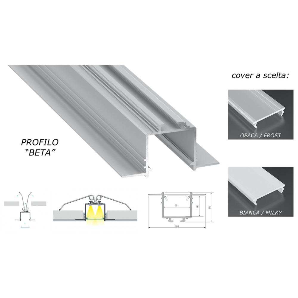 Strisce Led Per Cartongesso profilo in alluminio beta da 2 mt incasso a scomparsa cartongesso per  doppia striscia a led cover a scelta