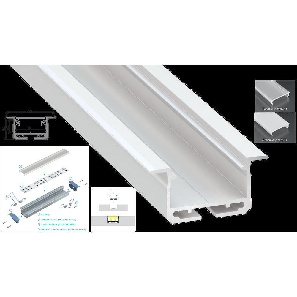 Strisce Led Per Cartongesso profilo alluminio bianco da incasso vega per strisce led 2 mt copertura a  scelta