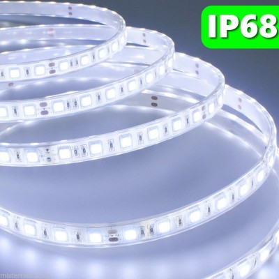 5 METRI STRISCIA 300 LED 5050 SMD WHITE 5 MT LUCE BIANCA FREDDA WATERPROOF IP68 PER IMMERSIONE 12 V DC