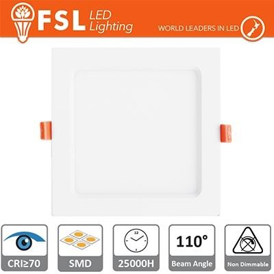 Downlight LED IP20 12W 4000K 900LM 110° FORO:160x160mm