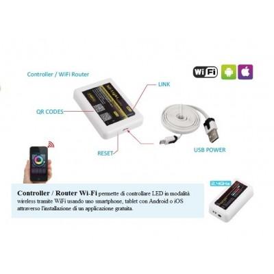 CONTROLLER/ROUTER WIFI PER CENTRALINE LED RGB E MONO CON FREQUENZA 2,4 GHzE